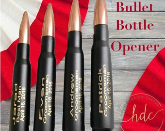 Father Day Gift. One Engraved Black .50 Cal Bullet Personalized Bottle Openers.Dad Gift.Father of the Bride Gift. Bridal Party Gift