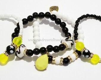 Black, White, Neon, Beaded Bracelet Set, Charm, Stretchy, Stackable, Minimalist, Womens, Custom Handmade Beaded Jewelry