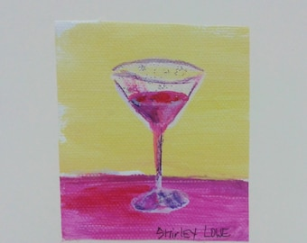 Cosmo Cocktail art on blank greeting card, tiny original art on canvas, mini art on 5x7 standard size card, celebration card, Cosmopolitan