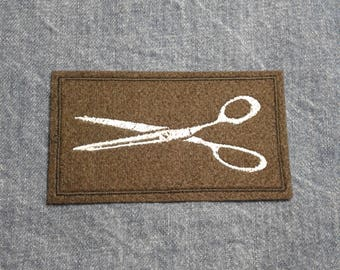 Scissors  ~ Vintage Style Embroidered Patch ~ Iron-On Sew-On Active
