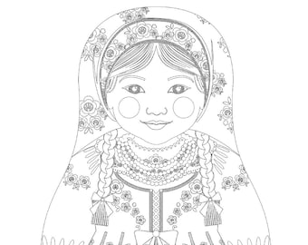 Russian Girl Matryoshka Coloring Sheet Printable file