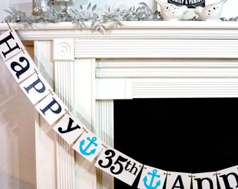 Happy Anniversary Banner Sign / Party Prop - Silver, Golden Anniversary Decoration 20th, 25th, 30th, 35th, 40th, 45th, 50th Anniversary Gift
