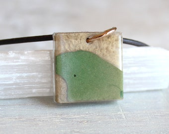 square gold and green concrete necklace, concrete jewelry, cement jewelry, minimalist jewelry, geometric jewelry unique gift
