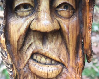 Wood Carving, Wood Spirit Carving, Rustic Decor, Wall Art, Original Art by Josh Carte, Hand Carved, Perfect Wood Gift, OOAK, Sculpture