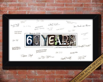 60 Year 60th birthday gift Men 60 birthday Women PERSONALIZE 60th print gift for 60th Birthday Party Custom Guest Book Birthday Decorations