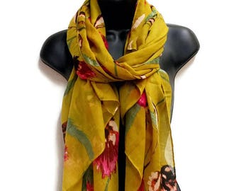 Thistle Flower Mustard Yellow Scarf,Spring Summer Scarf,Fashion Accessories,Gifts For Her,Gifts For Mother,Printed Scarf,Women Scarf