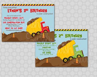 Dump Truck Birthday Invitation  - Construction Party -  Printable Invite - 5x7 digital file