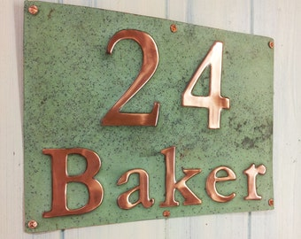 "House Sign Address Plaque in Real Copper, 3"" numbers and 2"" letters polished/laquered and patinated, this is a 2 x item sign g"