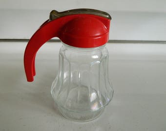 Red top glass syrup dispenser by Federal Tool Corp / red kitchen dispenser jar
