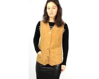 Leather vest, Vintage leather vest,  Suede leather vest,  Womens vest , Vintage 90s Leather vest, Light brown vest, Long suede vest / Medium
