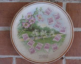 antique calendar plate 1911 Souderton, PA advertising flowers J.M. Landis co vintage