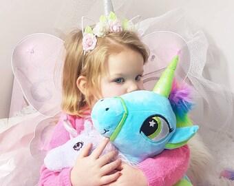 Personalised unicorn, birthday gift , personalized unicorn, soft toy, custom made, birthday unicorn, flower girl gift, bridesmaid gift