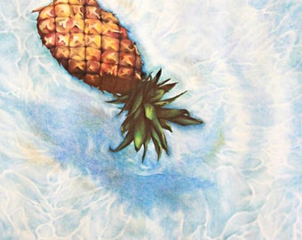 Pineapple in a Pool Drawing- Limited Edition Print