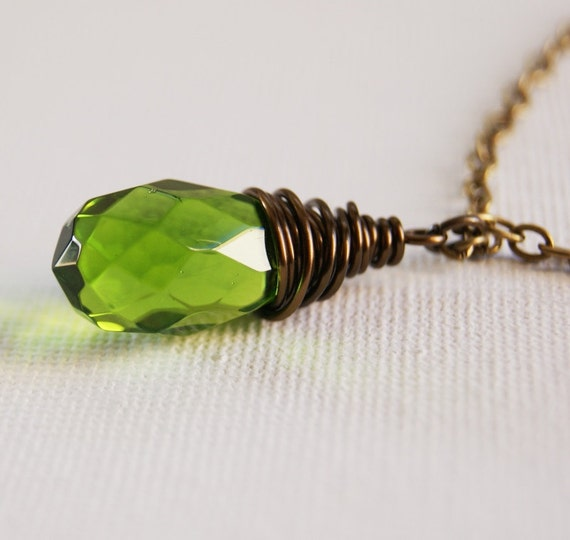 Items similar to Peridot Green Glass Pendant Necklace Wire Wrapped