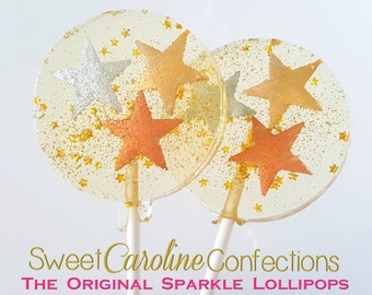 Star Lollipops, Star Party, As Seen At LeBron James Daughter's Party, Gold Stars, Twinkle Twinkle, Candy Lollipops, Candy -6/Set