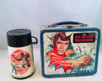 Six Million Dollar Man Lunch Box 1978 with Thermos