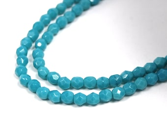 100/pc Opaque Sleeping Beauty Turquoise Czech 4mm Fire-polished Faceted Round Beads