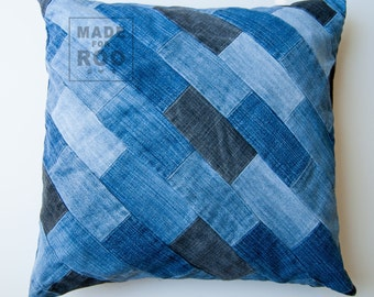 Berkeley Pillowcase-Decorative Pillows-Throw Pillow Covers-Denim Pillow Cover-Patchwork Denim-Upcycled Denim-Patchwork-Patchwork Pillow