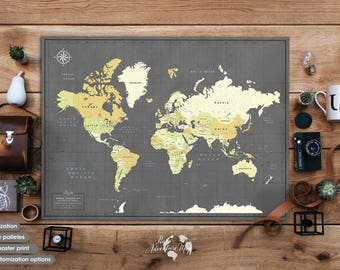 Travel map etsy world map push pin world map wall art travel map personalized gift world gumiabroncs Images