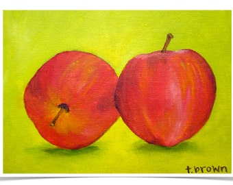 apples. fine art print. fruit. kitchen art. still life. red and green. red delicious apples. apple pie. americana. tree. orchard. audrey.