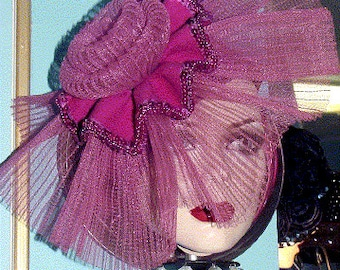 HATCOUTURE Exclusive hand made FASCINATOR in Fuschia Fortuny pleated horsehair, wool & sequins