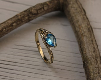 Topaz branch engagement ring in yellow gold, Topaz engagement ring, Tree bark engagement ring, Women's twig ring, Women's topaz ring