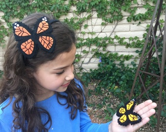 Monarch butterfly hair clip/headband, felt hand stitched