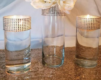 """Set of 2, 9"""" Tall Silver Rhinestone Mesh Wrapped Vases"""