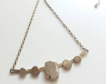 Fine silver pebble and sterling silver necklace