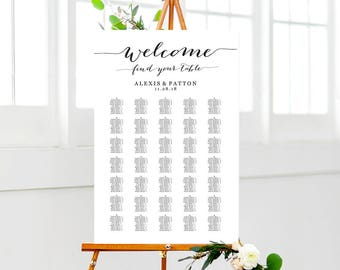 Welcome Wedding Seating Chart Templates, FOUR Templates 350-550 Names, Wedding Seating Chart Poster, Reception Sign Seating Plan