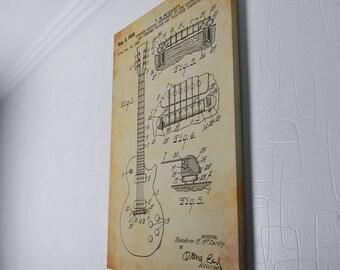 Les Gibson Guitar Canvas Art, Guitar Patent, Patent Print Canvas Wrap Wall Decor Plexity Prints #001W