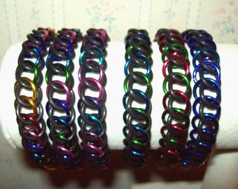 Chainmaille Half Persian 3 in 1 Stretchy Bracelet, EPDM Rubber and Anodized Aluminum Chainmail Rings, Assorted Color Choices
