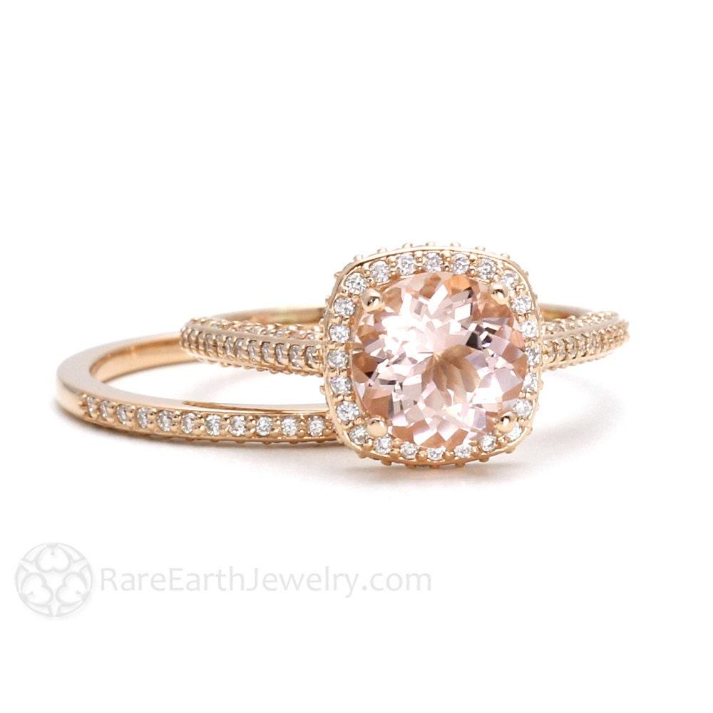 Morganite Bridal Set 18K Rose Gold Morganite Engagement Ring