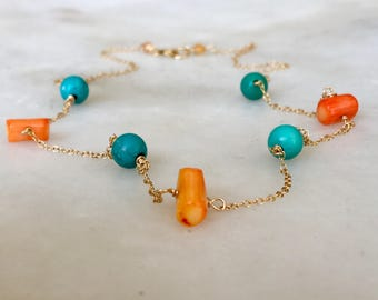 Turquoise and Coral Necklace Choker | Gemstone Necklace | Layering Necklace | Dainty Necklace | Boho Necklace | Choker Necklace