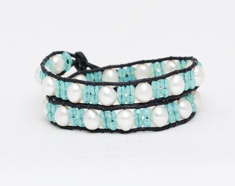 Sage Moon Bracelet, Double Wrap Bracelet, White Pearls on Black Leather,Pearl Bracelet, Valentines Jewelry
