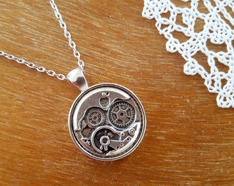 Vintage Style Steampunk Necklace, Silver Plated  Necklace with Pendant Steampunk