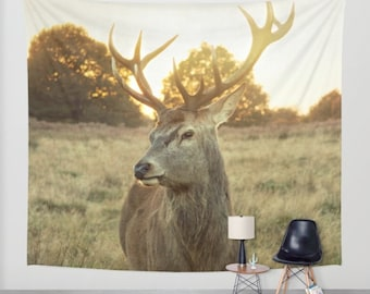 wall tapestry, large size wall art, wall decor, Richmond Park, UK, photo tapestry, modern tapestry, deer animal nature