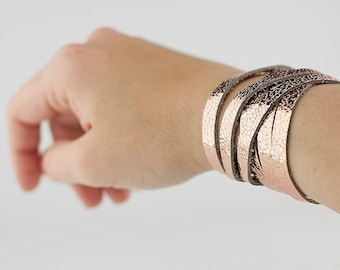 Leather Bracelet / Skinny Sliced Wrap Cuff / Rosegold Copper