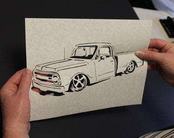 Framed  Hand Cut  Scherenschnitte - Of Your Car - Truck - House - Portrait - From Your Photo - Starting at 99 dollars -By Artist Janet Lynch