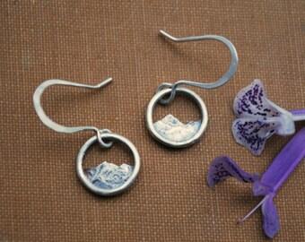 Tiny Silver Mountain Earrings - Mountain Range Dangles - Everyday Minimalist Drop Earrings