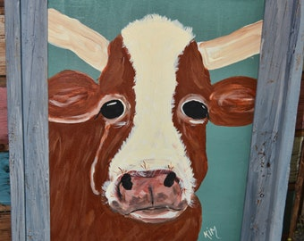 Miss Harriet hereford cow painting