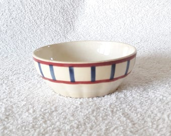Vintage French Blue Red Striped Ceramic Bowl