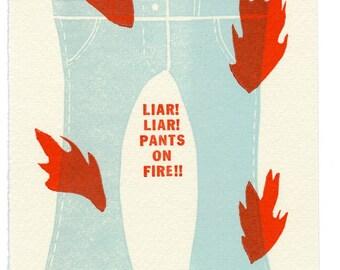 Liar Liar - limited edition letterpress print