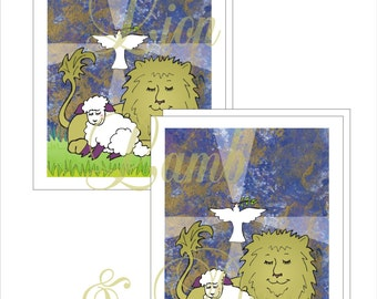 Lion, Lamb and Dove Note Cards with Printable Envelope Template Instant Download