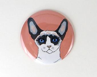 Snowshoe cat magnet, siamese cat magnet, funny cat button magnet