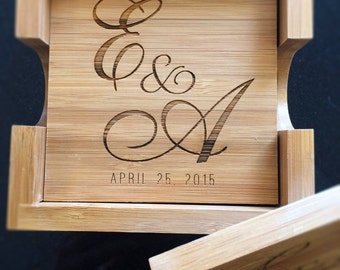 Engraved Wooden Coasters! Great 5 Year Anniversary Gift