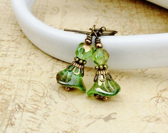 Green Earrings, Chrysolite Jewelry, Flower Earrings, Victorian Earrings, Czech Glass Beads, Unique Earrings, Shabby Chic Earrings, Gifts