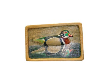 Custom Carved Bas-relief American Wood Duck Wall Mount signed Hunting Hunter Home Decor Cabin Original Art by Wildlife Artist Brad Martin