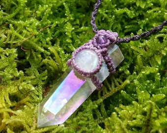 Rainbow Aura Quartz Macrame Necklace with Moonstone and Amethyst