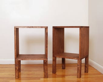 Tall Pair of Square Wood Nightstands Set of 2 Side Tables Modern Nightstand Wood Side Table Bedside Table Reclaimed Wood Plant Stand- Walnut